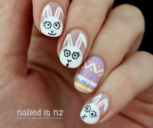 nail art, bunny, and easter image