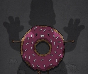 homer, donuts, and simpsons image