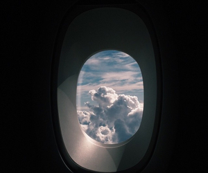 airplane, clouds, and cool image