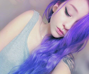 piercing, hair, and purple image