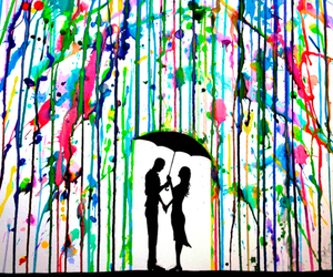 love, rain, and art image
