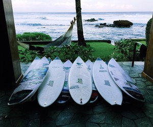 beach, surfboard, and ocean image