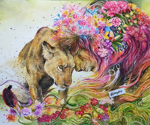 flowers and lion image