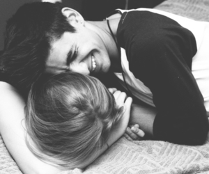 black and white, boy, and cuddling image