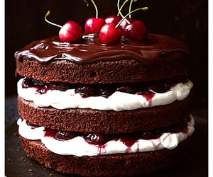 black forest, cake, and cherries image
