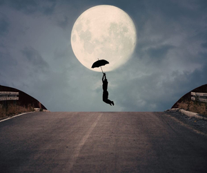moon, umbrella, and fly image
