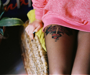 tattoo, girl, and pink image