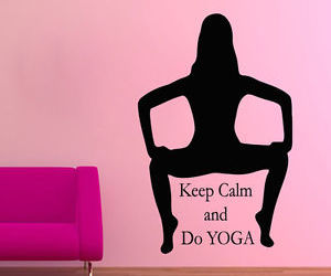 keep calm, yoga pose, and quote decal image