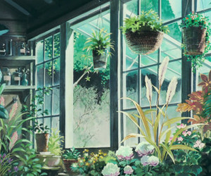 anime, kiki's delivery service, and plants image