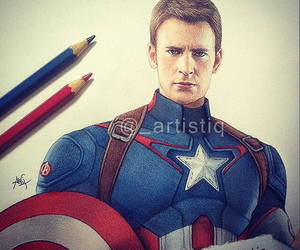 chris evans, drawing, and artistiq image