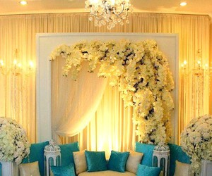 blue, drapes, and flowers image