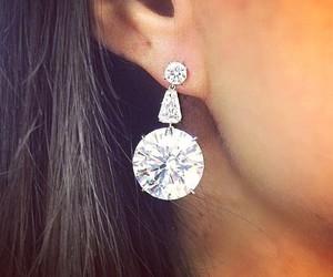 brunette, diamond, and earrings image