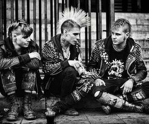 punk, black and white, and boy image