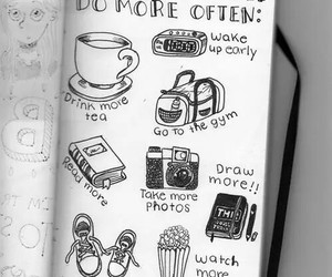 book, coffee, and draw image