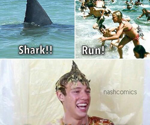 cameron dallas, shark, and funny image