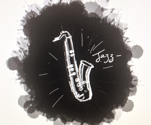 art, graphic design, and saxophone image