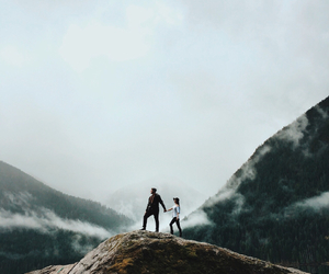 mountains, adventure, and couple image