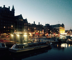 amsterdam, night, and canal image