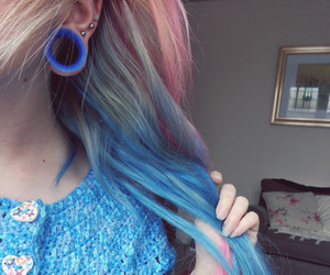 alternative, blue hair, and body mods image