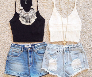 necklace, tops, and shorts image