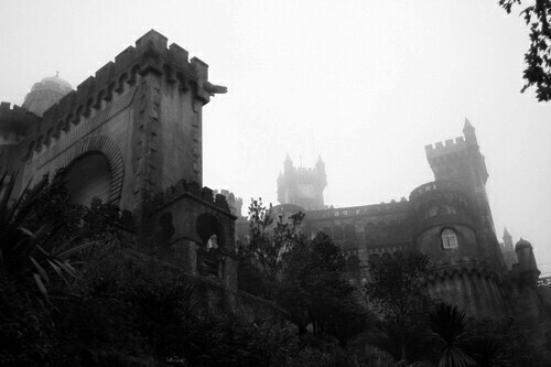 black and white, castle, and black image