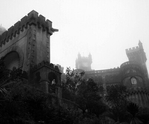 black and white and castle image