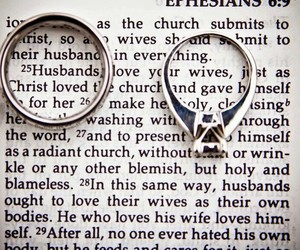 bible, marriage, and rings image