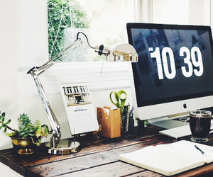 desk, interior, and coffee image
