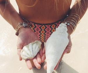 beach, woman, and bikini image