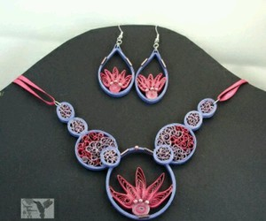 quilling, earrings flower, and necklace flowers image