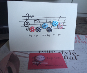 birthday card, buttons, and card image