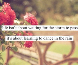 quote, life, and rain image