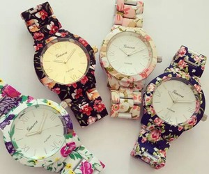 fashion, clock, and flowers image