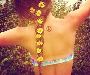 braid, sunflowers, and flowers image