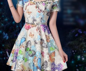 asian girl, butterfly, and dress image