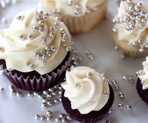 cupcake, white, and food image