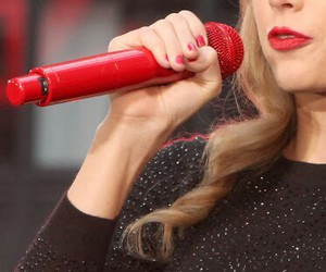 microphone, red, and Taylor Swift image