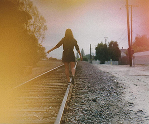 alone, girl, and road image