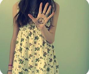 peace, girl, and dress image