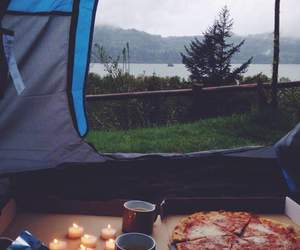 pizza, love, and camping image