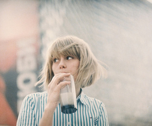 girl, vintage, and drink image
