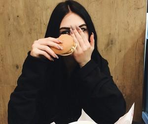 girl, nails, and food image