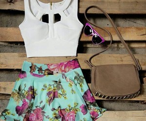 clothes, floral, and skirt image