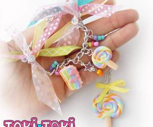 handmade bracelet, lollypop, and polymer clay image