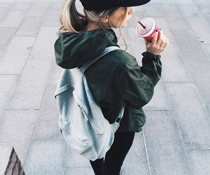 girl, style, and drink image