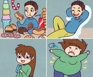girl, boy, and food image