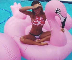 summer style, tanned toned body, and pink bikini image