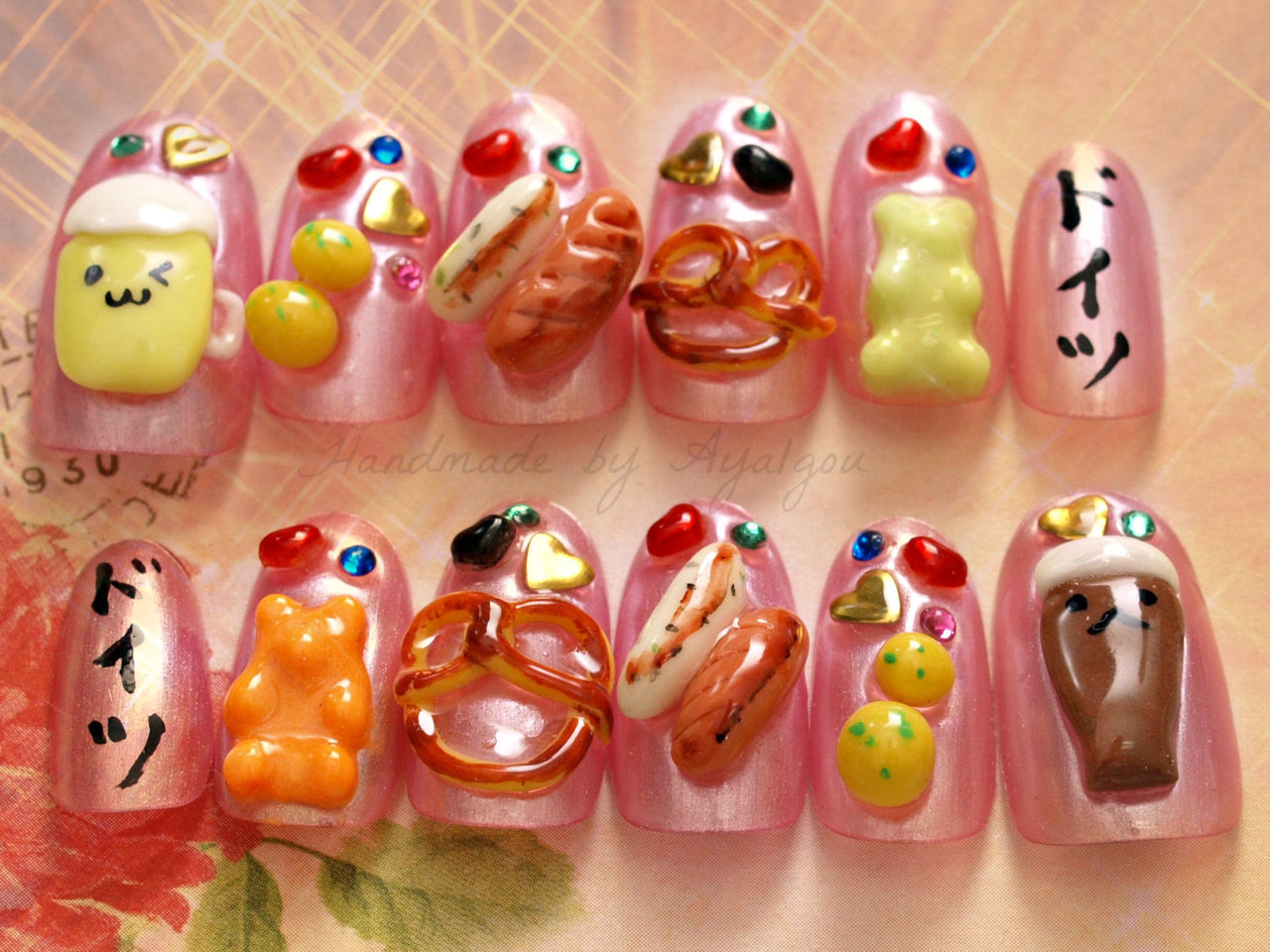 Nail nail art kawaii polymer clay food miniature food by Aya1gou