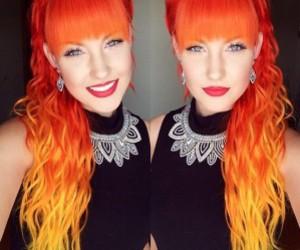 hair, orange, and lips image