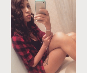 curly hair, plaid, and girl image